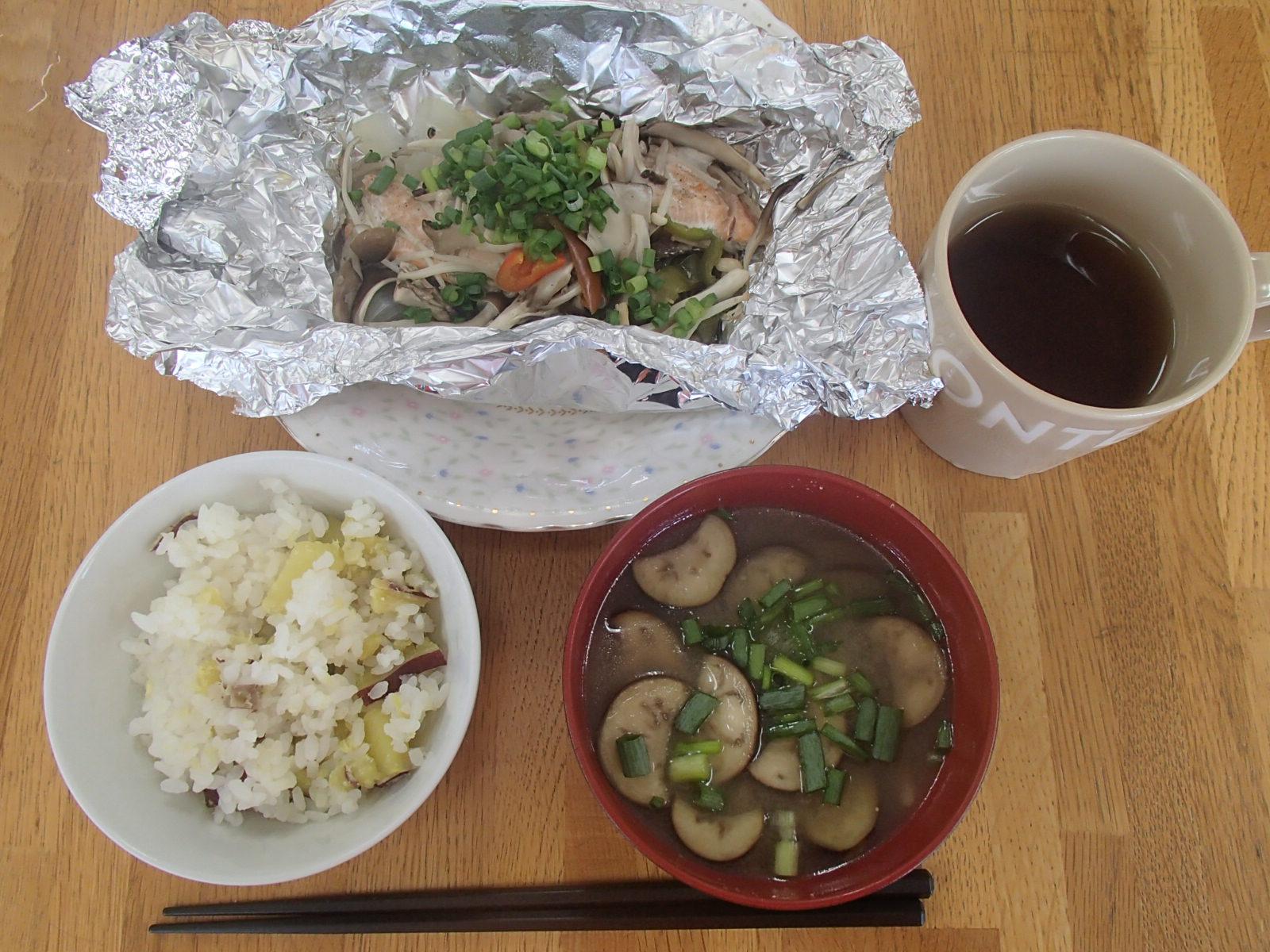 0930さつまいもご飯&鮭のホイル焼き 016.JPG